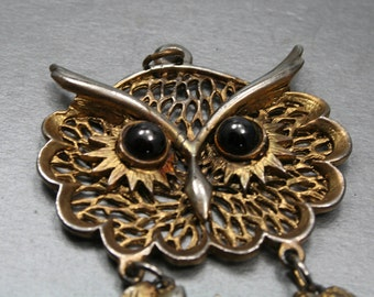 Big owl pendant, large gold owl, metal bronze owl with large eyebrows, bohemian owl necklace, articulated pendant, harry potter gift