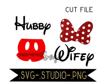 Hubby, Wifey, Mickey, Matching Disney Shirts Svg, Studio, Png, Cut File