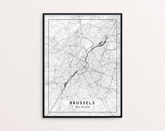 Brussels City Map Print, Clean Contemporary poster fit for Ikea frame 24x34 inch, gift art for him her, Anniversary personalized travel