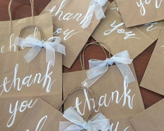 Custom Hand Lettered Calligraphy Gift Bag, Personalized Thank You Bag for Wedding, Baby Shower, Engagement and More