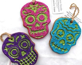 Day of the Dead Calavera Glitter Skulls Box set of 3