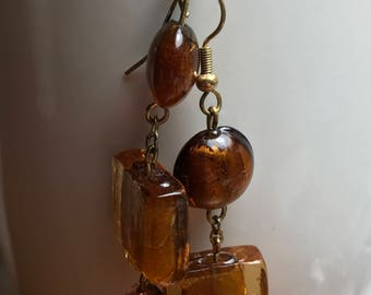 Amber Colored Glass Bead Earrings - Handmade