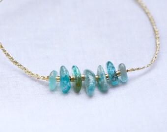 APATITE mineral beads, pearl bracelet gold 14 k & gold wire (bracelet wrist) and ankle bracelet