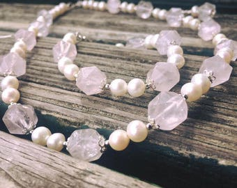 Rose Quartz + Freshwater Pearl & Sterling Silver 925