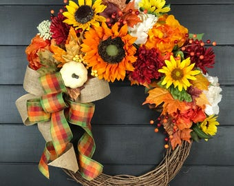 Fall Wreath/ Fall Decor/ Thanksgiving Decor/ Thanksgiving Wreath/ Front Door Wreath/ Sunflower Wreath/ Pumpkin Wreath/ Orange Wreath