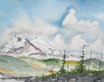 Watercolor art painting of Three Sisters landscape from Mckenzie Pass, in the Oregon Cascades, print from a handmade original
