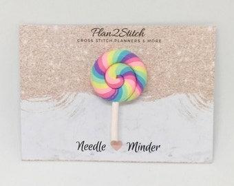 Rainbow Swirl Lollipop Needle Minder