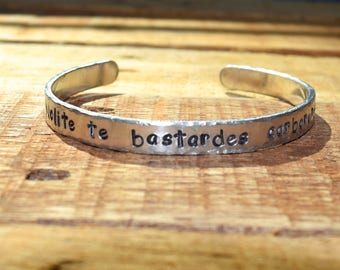 Nolite te bastardes carborundorum bracelet, Margaret Atwood quote, cuff bracelet, Handmaid's Tale, resistance, feminist sci-fi bracelet
