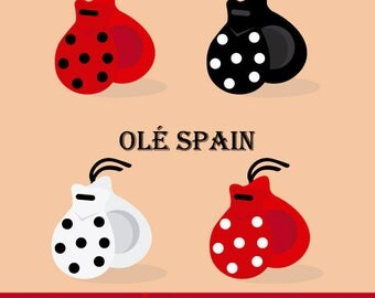 Sevillian castanets set, castanets with polka dots, castanets clipart.