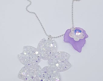 Sakura Flower necklace with resin effect ice/Frozen Sakura necklace