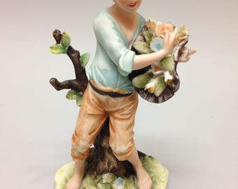 Boy with Flower Basket - Lefton KW346A