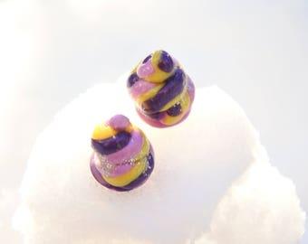 Unicorn Poop stud earrings-unicorn earrings-fimo-Polymer Clay