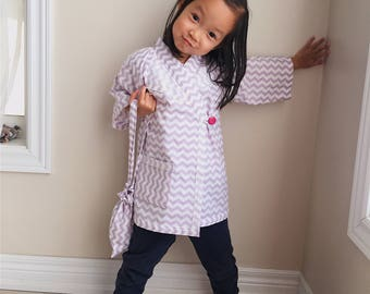 Cotton Kimono Robe for little Girls || Soft Dressing Gown (purple chevron) || Lightweight Outfit and Easy to Wear || Perfect for Toddlers