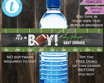 Football Baby Shower Water Bottle Beer Wrap- Baby Sprinkle- Baby Boy- Touchdown Kick Off Chalkboard Custom Printable INSTANT Self EDITABLE