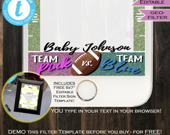 Football Gender Reveal Snapchat Geofilter- Gender Reveal Filter- Team Blue Team Pink Party- Personalize Custom Digital INSTANT Self EDITABLE