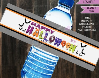 Halloween Water Bottle Label Beer Label Wrap - Any Occassion - Party Decorations Custom Printable INSTANT DOWNLOAD