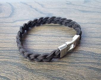 Women's Dark Brown Braided Leather Bracelet