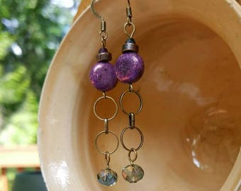 Purple and Aqua, ceramic and crystal, brass earrings