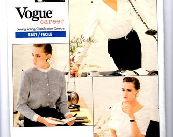 Vogue Patterns Career 2033 Geoffrey Beene Blouse Size 18-20-22 Uncut, YR 1988