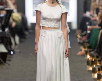 Ivory wedding dress, crop top, with skirt, two peace wedding dress, buttons on the back