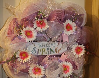 Welcome spring extra large deco mesh wreath