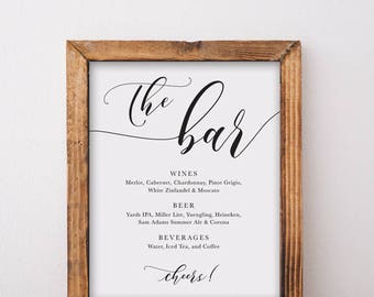 The Bar Menu Sign Printable 01