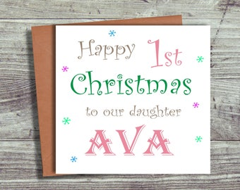Personalised Baby's First Christmas Card / Baby's 1st Christmas Card For Daughter Niece Granddaughter Sister Goddaughter