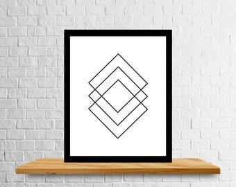 Geometric Shapes Art Print, Squares, Rectangles, Rhombus Art, Diamond Art, Instant Download, Digital Download, Print at Home, Get It Now
