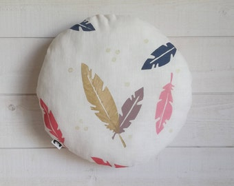 36cm of linen, pastel and gold feathers cushion hand printed.