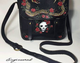 Hand Painted Leather Purse - Classic-Tattoo Style Rattlesnake, Skull & Roses - Leather Shoulder Bag - Crossbody Bag