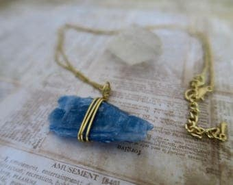 Blue Kyanite Wire Wrapped Necklace