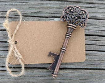 25+ Skeleton Key Bottle Openers, Wedding Favor, Rustic Steampunk Wedding Decor, Victorian Key, Bronze key bottle opener, FREE Twine & Tags!!
