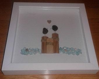 pebble art/love birds/aqua blu/valentines day/wedding/anniversary/8x8 shadowbox