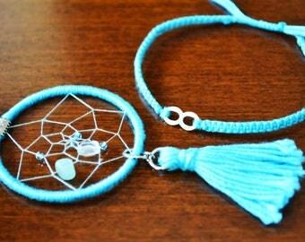 Handmade Bracelet :  Infinity Bracelet with Dreamcatcher Accessory
