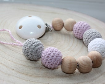 Wooden / Natural baby pacifier clip / Dummy holder / Baby Teether /  Crochet Beads / Baby boy / Baby Girl