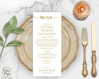 Gold Wedding Menu Template, DIY Wedding Menu Template, Printable Calligraphy Wedding Menu, Editable Gold Menu, PDF Instant Download MRG30