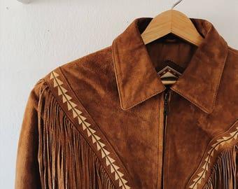 80s brown suede fringe jacket | vintage suede jacket | cognac suede fringe jacket | vintage suede jacket | southwestern leather jacket