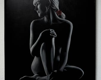 Original Painting Painting Art. Black and white paint. Painting woman. Naked painting Painting Decoration. Red Flower