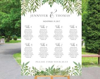 Wedding seating chart greenery, PRINTABLE Wedding Seating Chart, Green wedding seating chart, Wedding seating chart template, S81