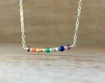 Gemstone Bar Necklace, Chakra necklace, Tiny Gemstone Necklace, Ultra Delicate Necklace, Amethyst, Lapis Lazuli, Aquamarine, Garnet Citrine
