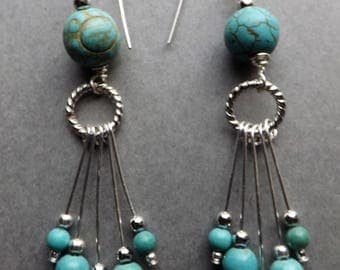 Turquoise and Silver Fan Drop Earrings