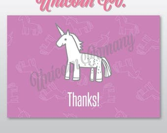 """Unicorn Thank you Note 4"""" x 6"""" 
