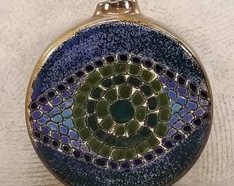 Midcentury Modern MOSAIC EYE round Metallic Bottle Vase Tile Decor European Pottery Op Art