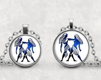 Gemini  Star Sign Necklace, Gemini Zodiac Pendant Necklace, Constellation Pendant, Birth Sign Necklace, Horoscope Jewelry, Cabochon Lucas