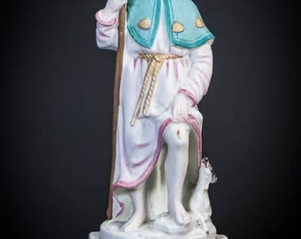"""RARE 11"""" Saint Roch Antique Bisque Porcelain Statue St Rocco Figurine Rock"""
