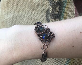 Wire Wrapped Cuff Bracelet with Labradorite Beads