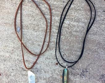 Angel Aura Quartz Crystal Point Pendant / Vegan Faux Suede necklace / Rainbow, Opal, Pearl / Essential Oil Diffuser Jewelry / Choker
