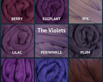 Merino Wool Roving - Felting Fiber - Spinning Fiber - The Violets - sold by the ounce