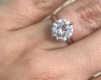 Supernova Moissanite, 9.5 mm/3.10 carats, 4 prongs, Solitaire ring, Custom made, Other stone and metal available