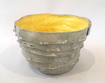 Ceramic Yellow and Grey Bowl